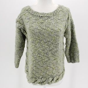 Anthropologie by Dollie green & gray sweater Sz XS